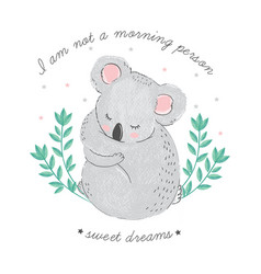 cute card with sleeping koala with closed eyes vector image