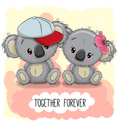 Cute cartoon koalas boy and girl vector