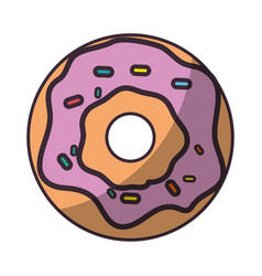 delicious donut cartoon vector image