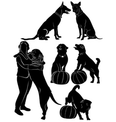 Dogs collection silhouette vector image
