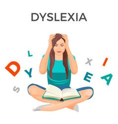 Dyslexia mental disorder conceptual vector