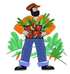 Farmer harvests local organic production eco food vector