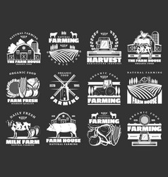 Farming cattle farm and agriculture icons vector