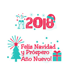 Feliz navidad - merry christmas spanish language vector