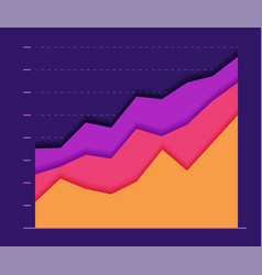 financial paper color graph with three curve vector image