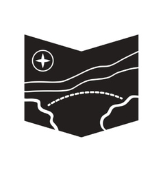 Flat icon in black and white style tourist map vector