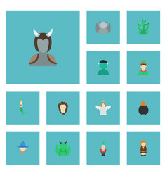 Flat icons elf evil wizard and other vector