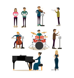 Flat icons set of symphony orchestra people vector