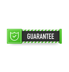 Flat ribbon with green guarantee banner on white vector