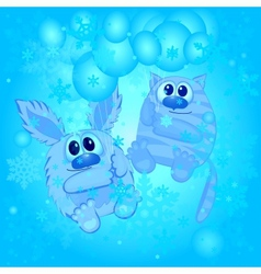 funny animals on the winter background vector image