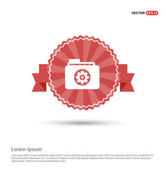 Gear box icon - red ribbon banner vector