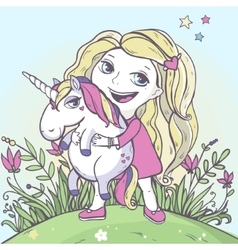 Girl and cartoon magic unicorn vector
