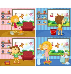 Girl doing chores in the house vector image