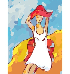 Girl on the beach with sea vector image