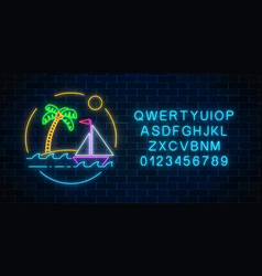 glowing neon summer sign with sailing ship and vector image