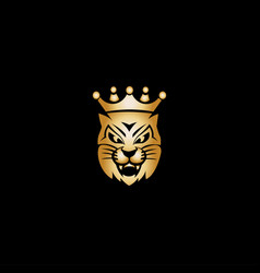 gold king cat mascot logo vector image
