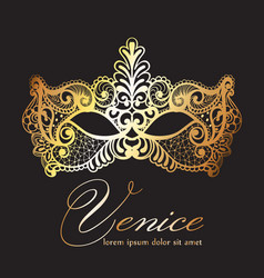 golden lace mask carnival venice carnival vector image