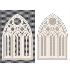 gothic medieval window on white and transparent vector image
