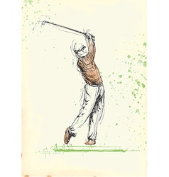 Hand drawing - golf player vector