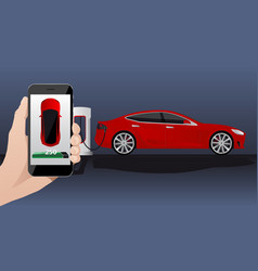 Hand with phone on a background of electric car vector