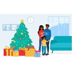 Happy family standing near christmas tree vector