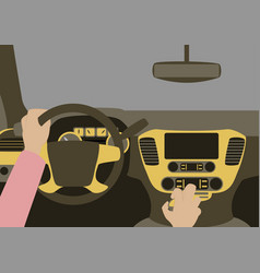 Human hands driving a car vector