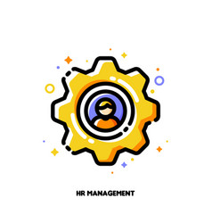 Icon of yellow gear with employee silhouette vector