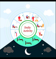 infographic daily activity with colored pictogram vector image