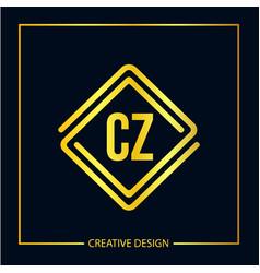 initial letter cz logo template design vector image