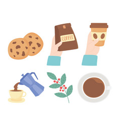 International day coffee kettle cookies branch vector