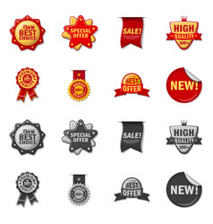 isolated object emblem and badge icon set vector image