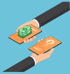 isometric businessman transferring money through vector image