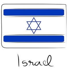 Israel flag doodle vector image