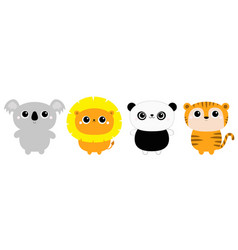 Koala lion panda bear tiger ftoy icon line set vector