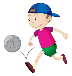 Little boy playing football vector image