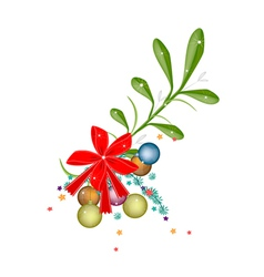 Lovely Green Mistletoe with A Red Bow vector