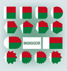 madagascar flag collection figure icons set vector image