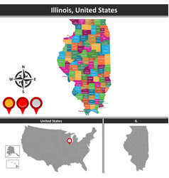 Map of illinois us vector