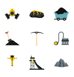miner equipment icons set flat style vector image