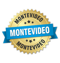 Montevideo round golden badge with blue ribbon vector