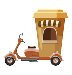 Moped mobile cafe icon cartoon style vector