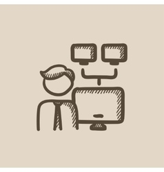 Network administrator sketch icon vector