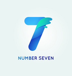 Number seven in trend shape style vector