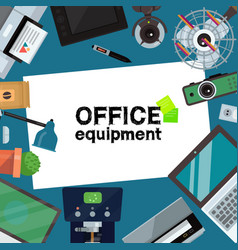 Office equipment banner poster vector