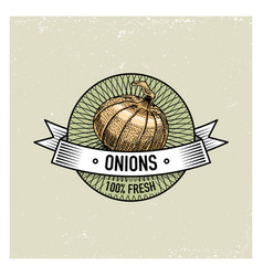 Onions vintage set of labels emblems or logo for vector