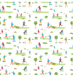 outdoor activity seamless pattern cartoon vector image