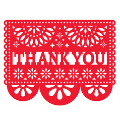 Papel picado design - thank you card vector