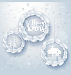 Paper art xmas decorations vector