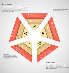 Pentagon consist of three orange ribbons vector