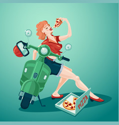 Pizza delivery pin up style young girl with vector